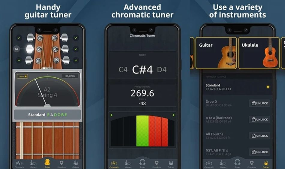 Chromatic Guitar Tuner features