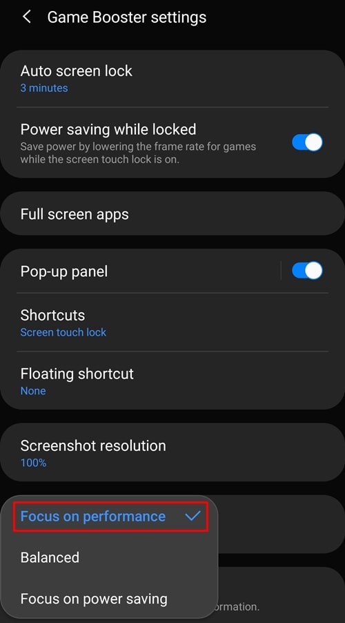 Game booster settings