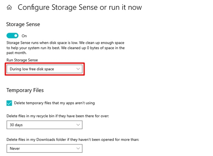free disk space with storage sense