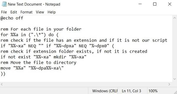 batch file code