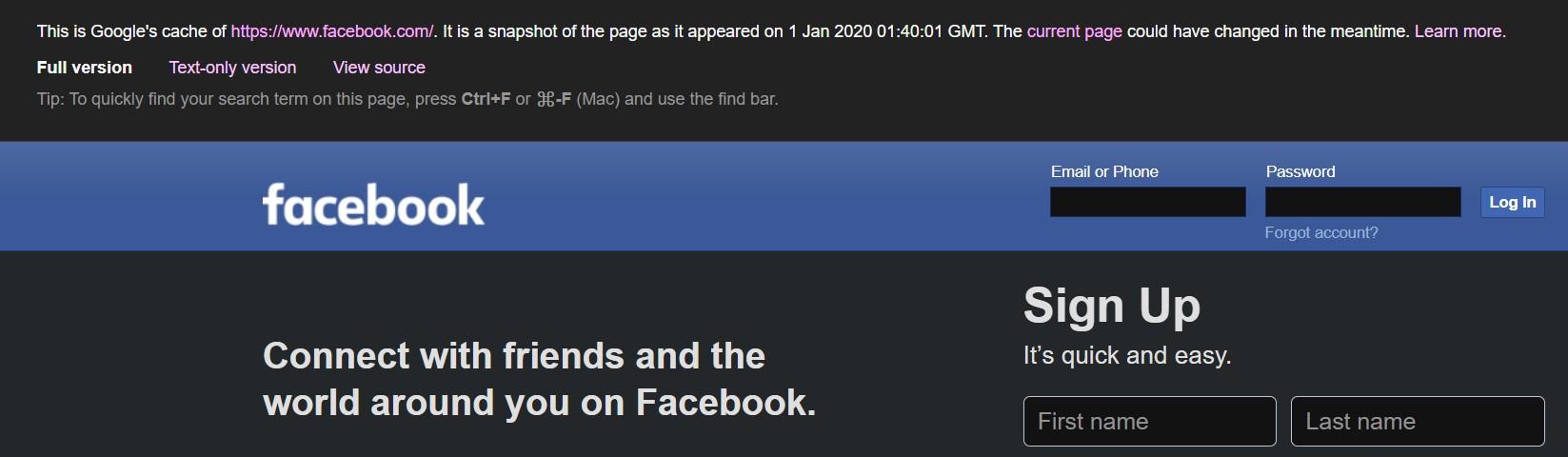 facebook cache