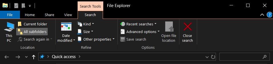 file explorer search shortcut