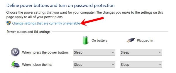 change unavailable settings