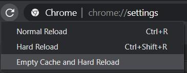 delete cache option
