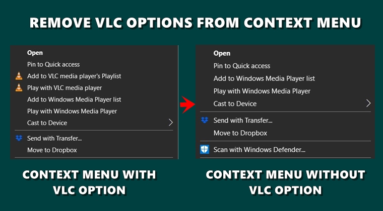 remove vlc context menu
