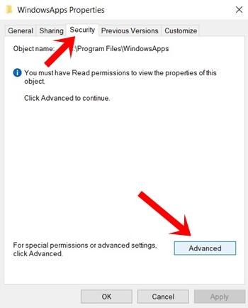 windowsapp security windows 10