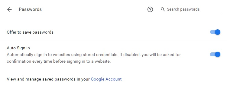 enable chrome password manager
