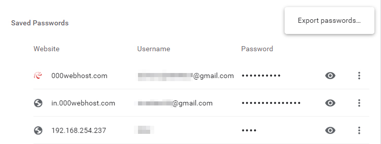 export chrome passwords