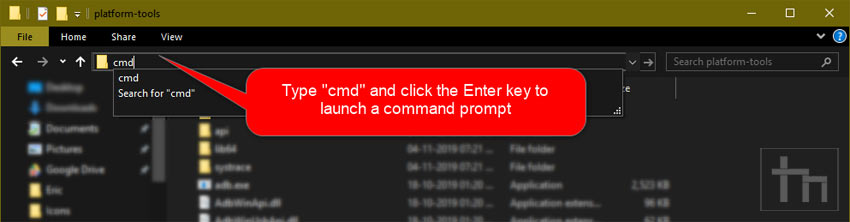 launch command window in sdk folder