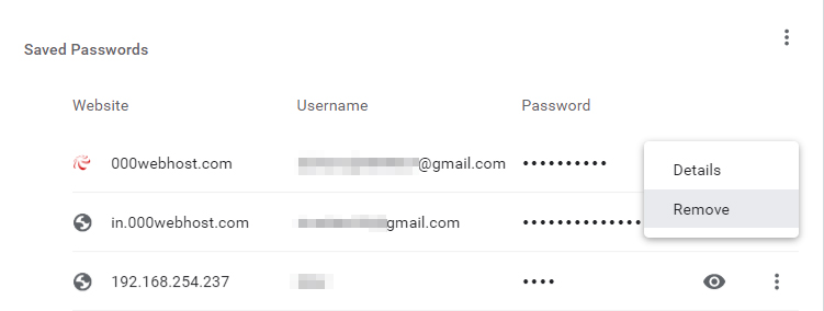 remove saved password in chrome