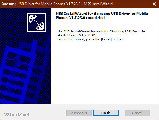 usb driver installation finished