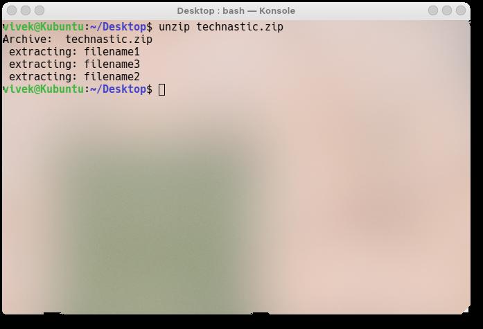 unzip files in Ubuntu Linux