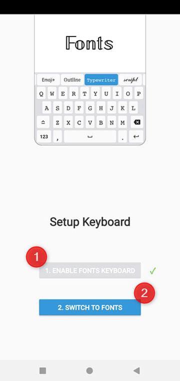 setup fonts keyboard app