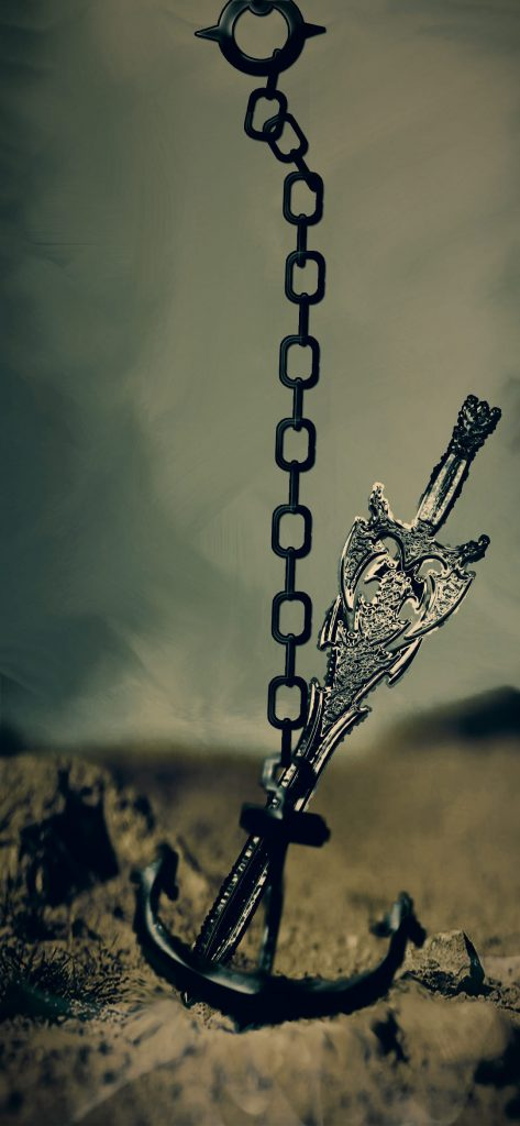 iron chain punch hole wallpaper
