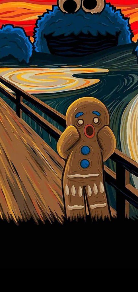 gingerbread man punch hole wallpaper