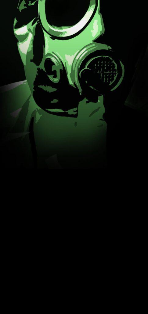 gas mask punch hole wallpaper