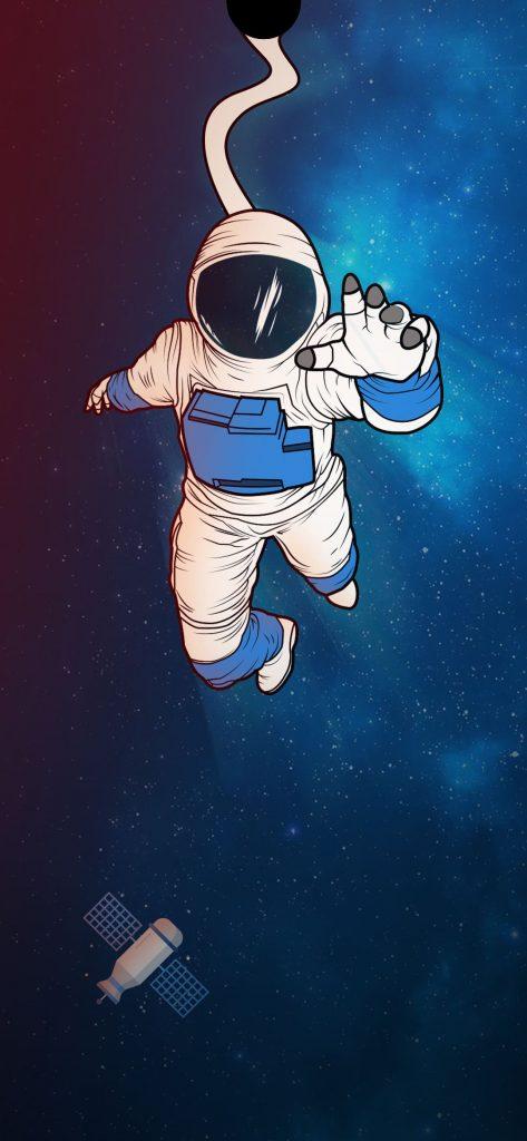 astronaut wallpaper punch hole wallpaper
