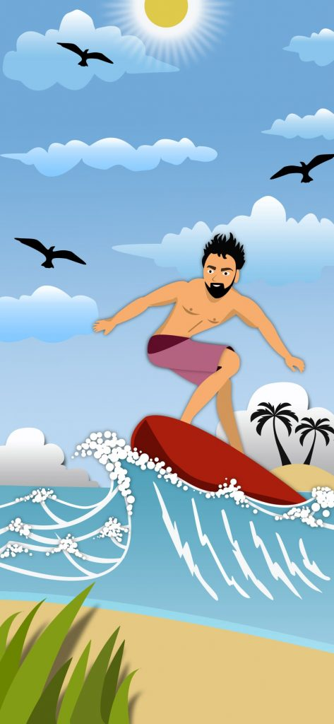 sea surfing punch hole wallpaper