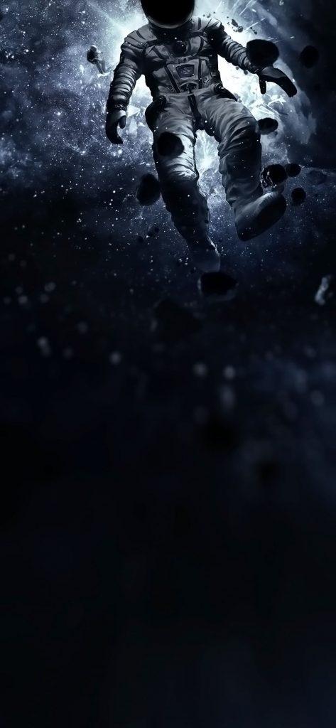 space astronaut dot notch wallpaper