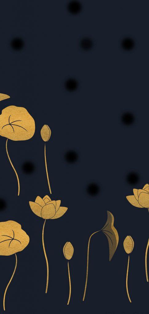 golden flowers dot notch wallpaper