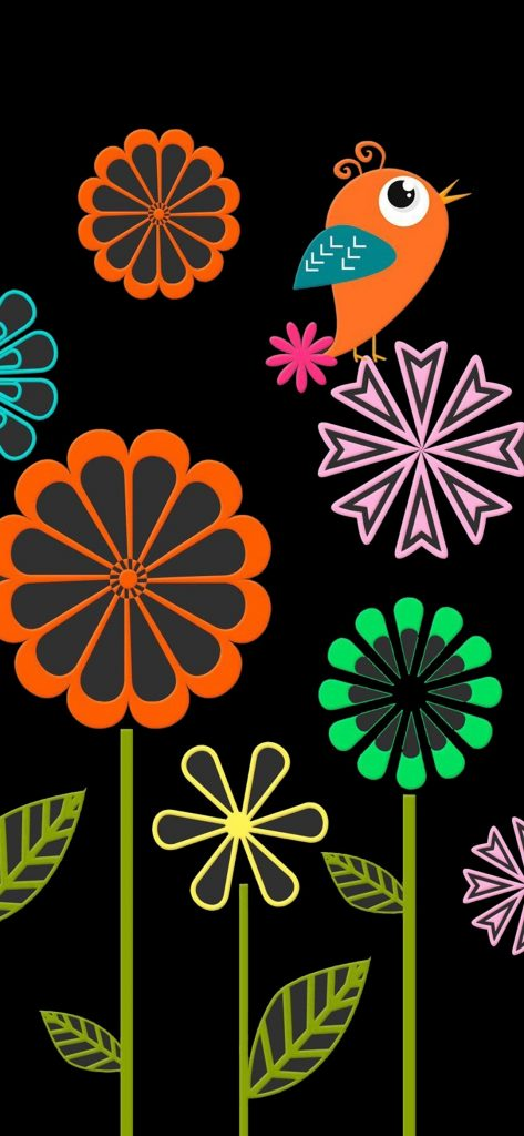 digital flower hole punch wallpaper