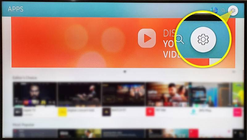 app settings on samsung tv