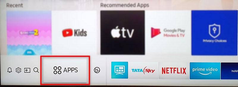 Samsung tv apps option