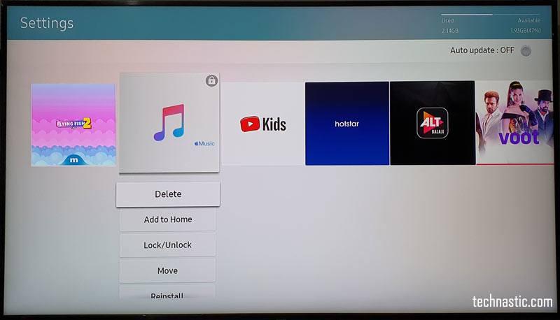 delete pre-installed app samsung tv