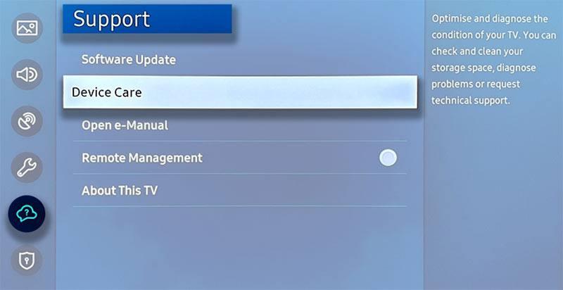 samsung tv 2020 device care