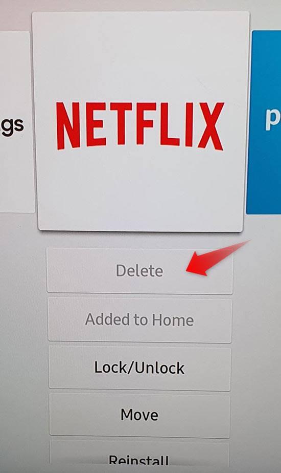 samsung tv app delete option greyed out