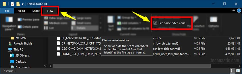Windows file name extensions option