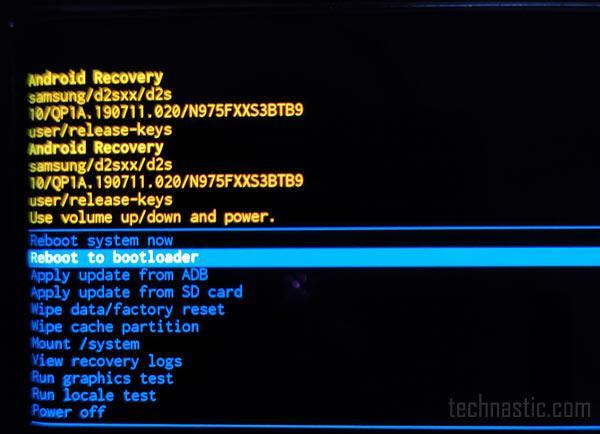 samsung recovery menu