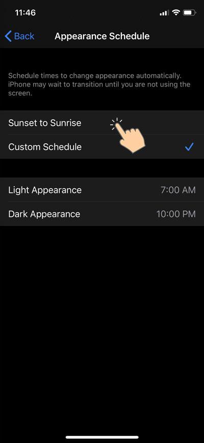 ios 13 light and dark mode schedule