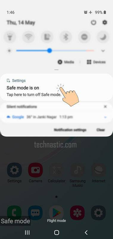 samsung option to turn off safe mode