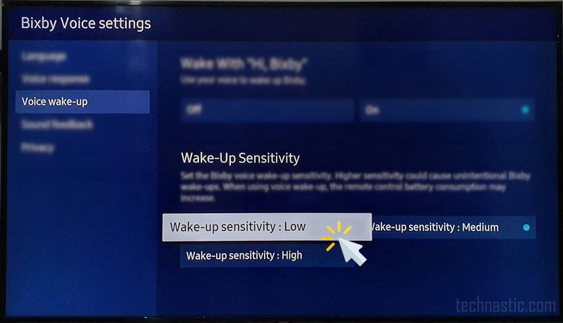 bixby sensitivity on samsung tv