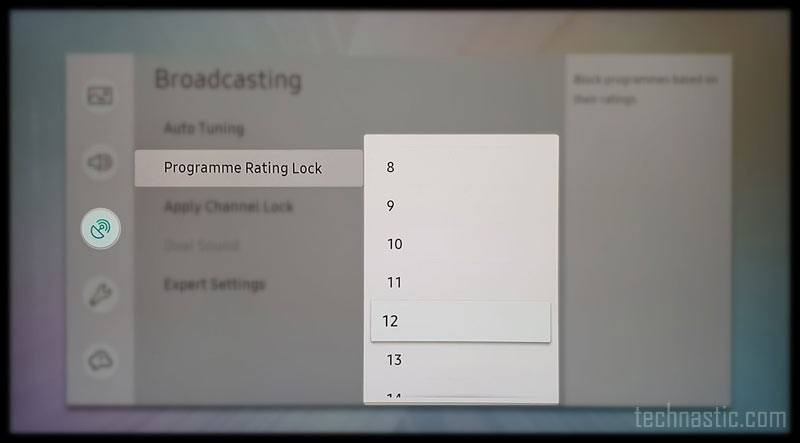program rating on samsung channel