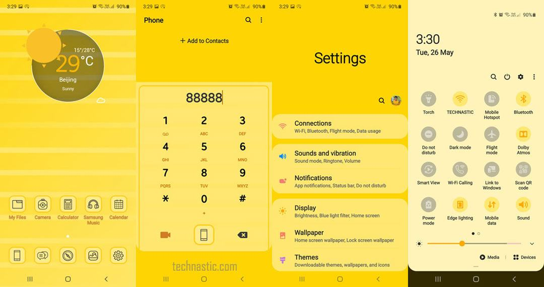 yellow stripe one ui theme