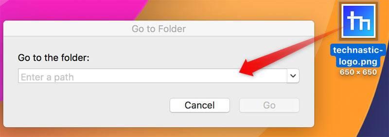 drop file in go to folder mac