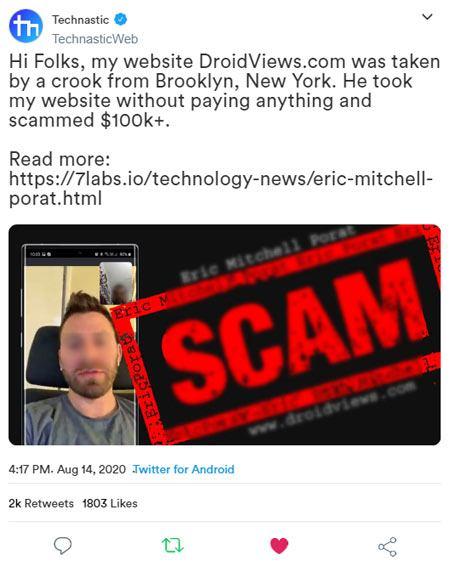 eric-mitchell-porat fake tweet screenshot