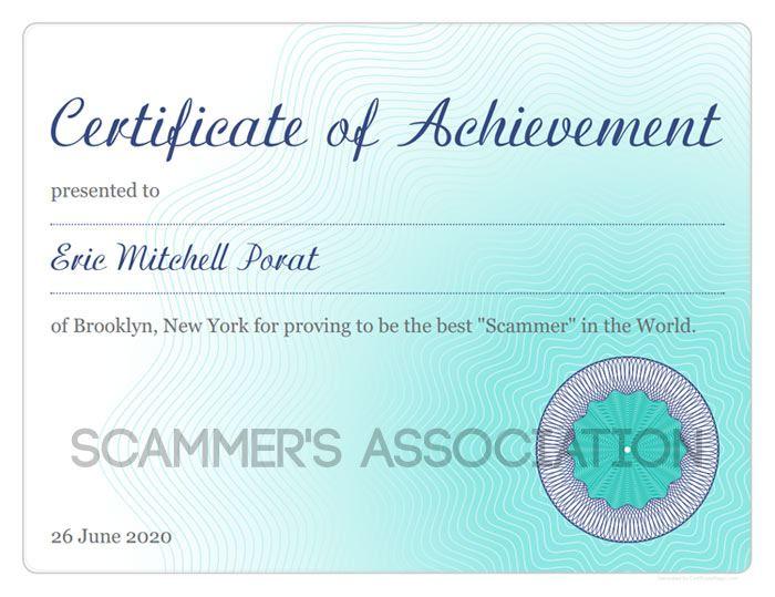 fake certificate screenshot