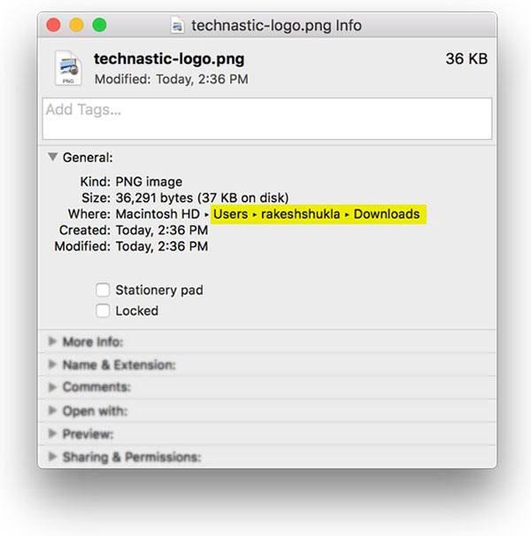 mac os get info option