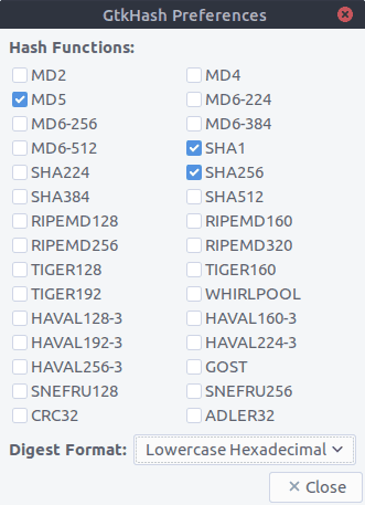 GtkHash hash preferences Ubuntu