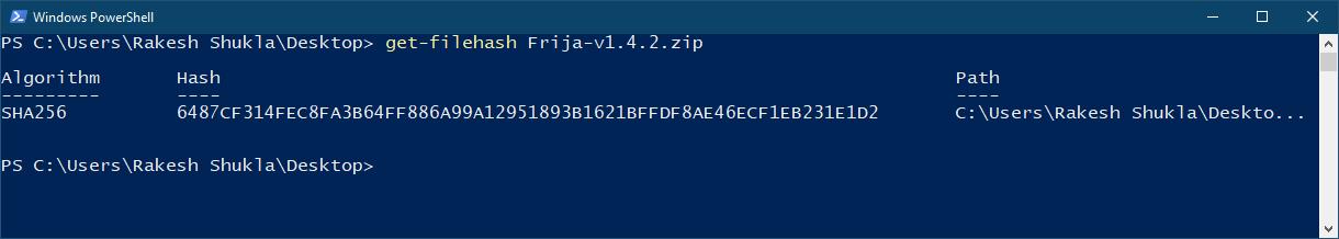 hash checker command windows