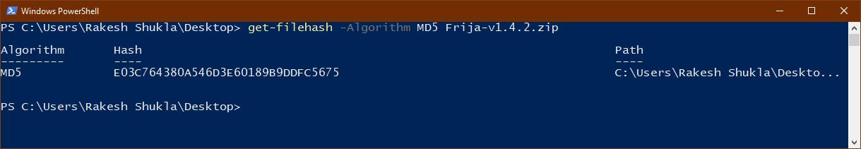 md5 checksum windows command