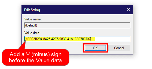 edit string to remove context menu item windows 10