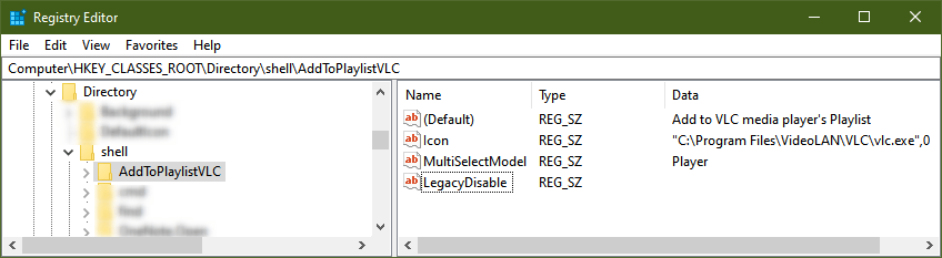 reove vlc from right-click menu windows