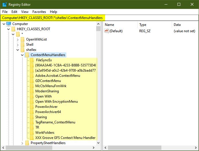 context menu handler windows 10