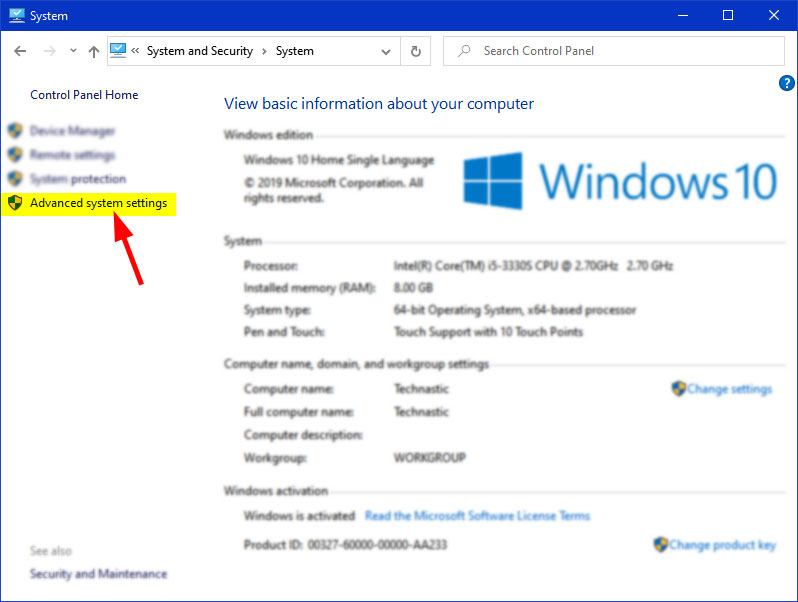 advanced system settings windows 10