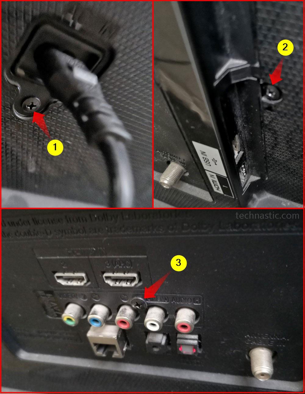 lg smart tv pack panel screws