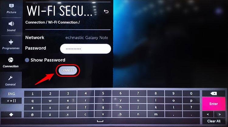 enter wifi password on lg smart tv
